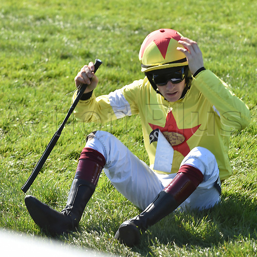 April 8th 2017, Aintree Racecourse, Liverpool, England; Randox Health Grand National Festival Horse racing, Grand National Day; Sam Twiston-Davies looks in dismay as he falls from Politologue at the final fence