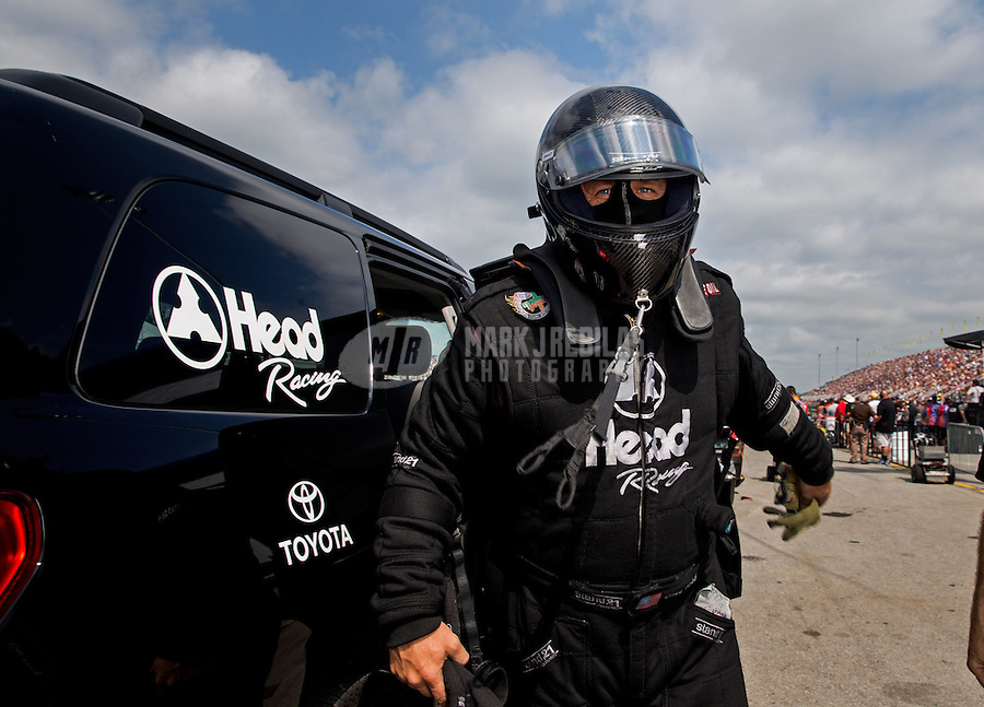 Sept. 1, 2013; Clermont, IN, USA: NHRA funny car driver Chad Head during qualifying for the US Nationals at Lucas Oil Raceway. Mandatory Credit: Mark J. Rebilas-