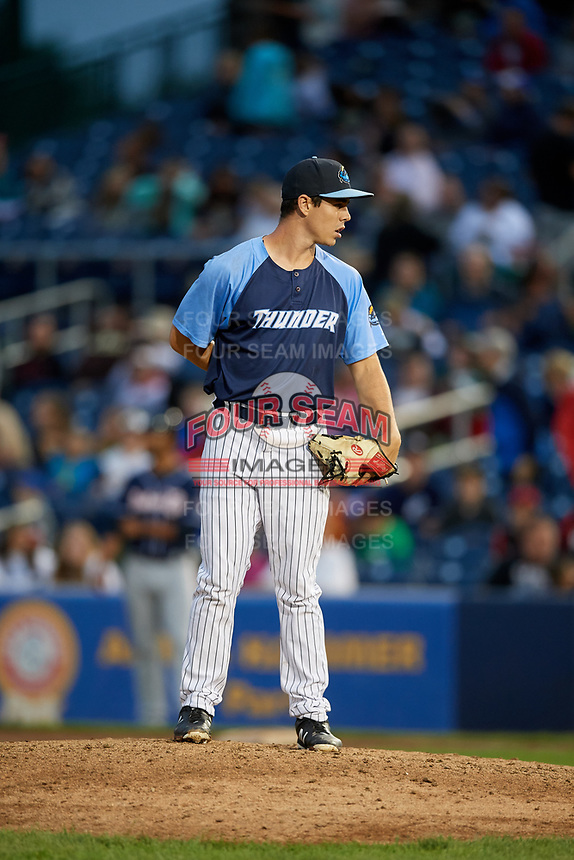 Trenton Thunder relief pitcher Chase Hodson (24) looks in for the sign during a game against the New Hampshire Fisher Cats on August 19, 2018 at ARM & HAMMER Park in Trenton, New Jersey.  New Hampshire defeated Trenton 12-1.  (Mike Janes/Four Seam Images)