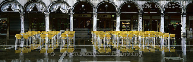 Tom Mackie, LANDSCAPES, panoramic, photos, Yellow Chairs Reflecting in St. Mark's Square, Venice, Italy, GBTM030457-1,#L#