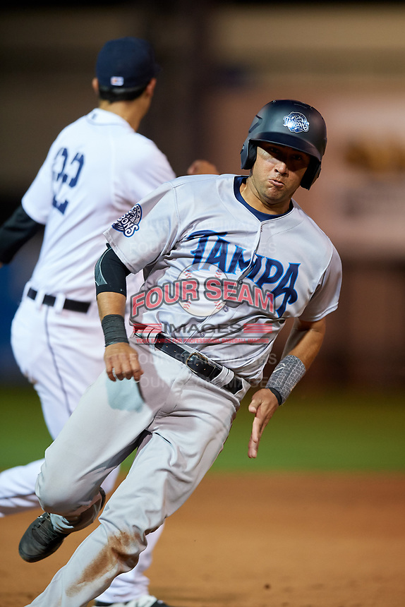 Tampa Tarpons catcher Francisco Diaz (17) runs the bases during a game against the Lakeland Flying Tigers on April 5, 2018 at Publix Field at Joker Marchant Stadium in Lakeland, Florida.  Tampa defeated Lakeland 4-2.  (Mike Janes/Four Seam Images)