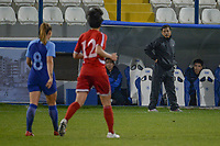 20190304 - LARNACA , CYPRUS : North Korean head coach Kim Kwang-Min pictured during a women's soccer game between Finland and Korea DPR , on Monday 4 March 2019 at the Antonis Papadopoulos Stadium in Larnaca , Cyprus . This is the third game in group A for Both teams during the Cyprus Womens Cup 2019 , a prestigious women soccer tournament as a preparation on the Uefa Women's Euro 2021 qualification duels. PHOTO SPORTPIX.BE | STIJN AUDOOREN