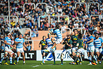 06/09/2018. Malvinas Argentinas Stadium, Mendoza, Argentina. The Rugby Championship 2018, Round 2, Los Pumas beat the Spingboks at home 32 to 19. Gonzalo Bertranou wins in the heights on defense. /Maximiliano Aceiton/Trysportimages