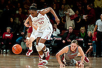 STANFORD, CA-JANUARY 18, 2012 - Nnemkadi Ogwumike gains control of a loose ball in the first half against the Washington State Cougars.
