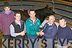 SUPREME: John Cahill, Ballyheigue, receives the cup for winning the Castleisland Mart Supreme Champion at the Castleisland Mart show and sale on Friday, he sold his heifer for €1,800, l-r: Tomas Hanlon, Ballyheigue, Paul Conroy (judge), John Cahill, Jimmy Roche (Castleisland mart) and Donal Hussey, Ballyheigue.