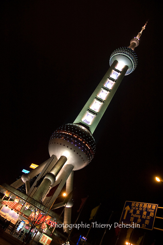 The Oriental Pearl Tower at night.