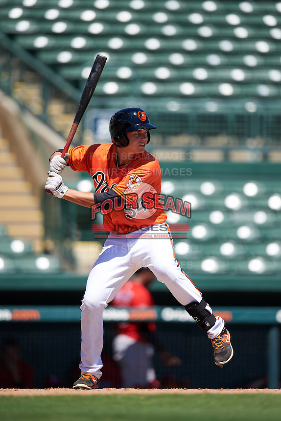 Baltimore Orioles Ryan Mountcastle (54) during an Instructional League game against the Boston Red Sox on September 22, 2016 at the Ed Smith Stadium in Sarasota, Florida.  (Mike Janes/Four Seam Images)