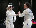 25 MAR 2016:  Ohio State's Eleanor Harvey is congratulated by Columbia's Jackie Dubrovich after Harvey's win in the women's foil event at the Division I Women's Fencing Championship held at the Gosman Sports and Convention Center in Waltham, MA.   Damian Strohmeyer/NCAA Photos
