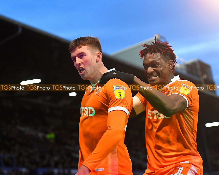 Chris Long of Blackpool celebrates scoring the first goal with Armand Gnanduillet of Blackpool during Portsmouth vs Blackpool, Sky Bet EFL League 1 Football at Fratton Park on 12th January 2019