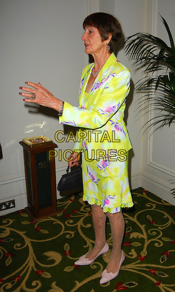 JUNE BROWN .June Brown Tribute Luncheon, Grosvenor House, London, UK..October 15th, 2006.Ref: CAN.full length jacket yellow purple floral print skirt.www.capitalpictures.com.sales@capitalpictures.com.©Can Nguyen/Capital Pictures