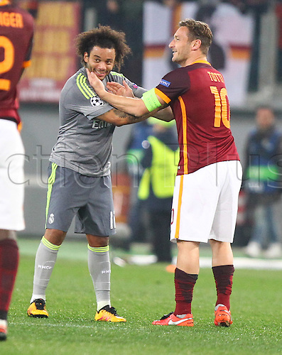 17.02.2016. Stadio Olimpico, Rome, Italy. UEFA Champions League, Round of 16 - first leg, AS Roma versus Real Madrid.  MARCELO VIEIRA DA SILVA shares warm words with TOTTI FRANCESCO