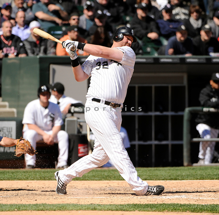 ADAM DUNN, of the Chicago White Sox,  in action during the Sox game against the Minnesota Twins, on May 4, 2011 at  US Cellular field in Chicago, IL.  The Twins beat the White Sox 3-2.