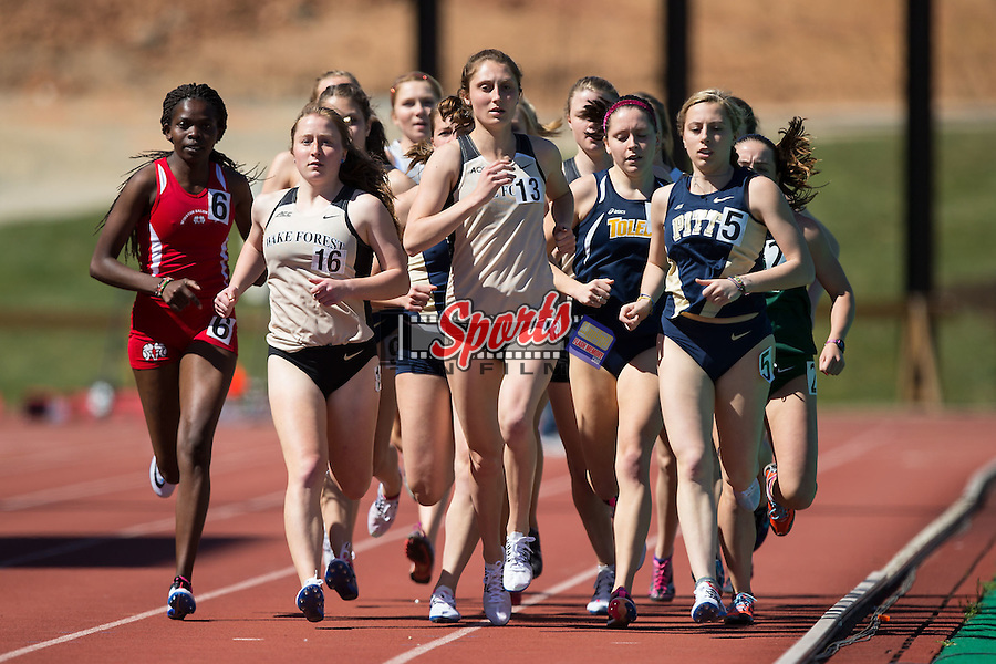 Aubrey Waggoner (13) of the Wake Forest Demon Deacons leads the first heat down the back stretch during the women's 1500m B-section race at the Wake Forest Open on March 18, 2016 in Winston-Salem, North Carolina.  (Brian Westerholt/Sports On Film)
