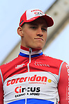 Mathieu Van Der Poel (NED) Corendon-Circus on stage at sign on before the 2019 Gent-Wevelgem in Flanders Fields running 252km from Deinze to Wevelgem, Belgium. 31st March 2019.<br /> Picture: Eoin Clarke | Cyclefile<br /> <br /> All photos usage must carry mandatory copyright credit (© Cyclefile | Eoin Clarke)