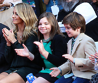 HOLLYWOOD, CA - DECEMBER 03: Christine Taylor, Ella Stiller, Quinlin Stiller attending the Ben Stiller Hand/Footprint Ceremony held at TCL Chinese Theatre on December 3, 2013 in Hollywood, California. (Photo by Xavier Collin/Celebrity Monitor)