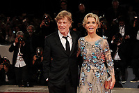 U.S. actors Robert Redford, left, and Jane Fonda pose on the red carpet for the screening of the movie 'Our Souls At Night' at the 74th Venice Film Festival, Venice Lido, September 1, 2017. <br /> UPDATE IMAGES PRESS/Marilla Sicilia<br /> <br /> *** ONLY FRANCE AND GERMANY SALES ***