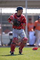 Boston Red Sox Carlos Coste (19) during a minor league spring training game against the Baltimore Orioles on March 18, 2015 at Buck O'Neil Complex in Sarasota, Florida.  (Mike Janes/Four Seam Images)