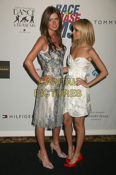"NICKY HILTON & NICOLE RICHIE.14th Annual Race to Erase MS Themed ""Dance to Erase MS"" at the Century Plaza Hotel, Century City, California, USA, 13 April 2007..full length strapless dress fringe blonde bob hairwhite strapless dress grey blue floral patterned print hands on hips red shoes.CAP/ADM/BP.©Byron Purvis/AdMedia/Capital Pictures."