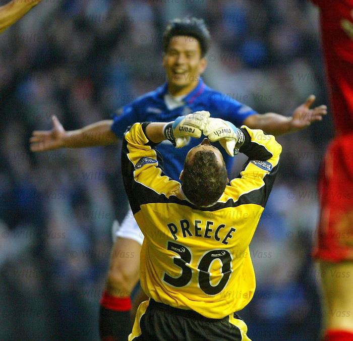 Rangers v Aberdeen 1.2.2003: David Preece is gutted as the ball slips away for Michael Mols to score the winner