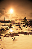 USA, Wyoming, Yellowstone National Park, the Firehole River running through the Upper Geyser Basin near Old Faithful