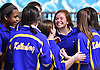 Kellenberg girls bowling teammates celebrate after their win over St. Dominic in the Nassau-Suffolk CHSAA league championship at Farmingdale Lanes on Monday, Feb. 13, 2017.