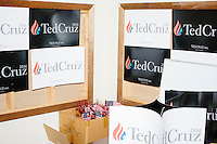 Campaign signs hang on a wall after Texas senator and Republican presidential candidate Ted Cruz spoke to a crowd at the kick-off event at his New Hampshire campaign headquarters in Manchester, New Hampshire.