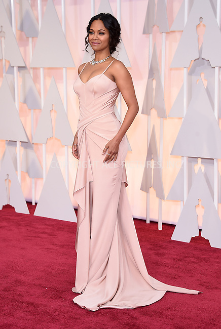 WWW.ACEPIXS.COM<br /> <br /> February 22 2015, LA<br /> <br /> Zoe Saldana arriving at the 87th Annual Academy Awards at the Hollywood &amp; Highland Center on February 22, 2015 in Hollywood, California<br /> <br /> <br /> By Line: Z15/ACE Pictures<br /> <br /> <br /> ACE Pictures, Inc.<br /> tel: 646 769 0430<br /> Email: info@acepixs.com<br /> www.acepixs.com