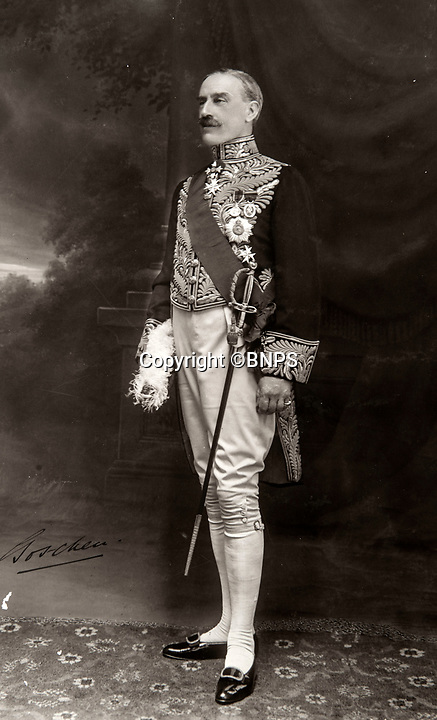 BNPS.co.uk (01202 558833)<br /> Pic: PhilYeomans/BNPS<br /> <br /> Viscount Goschen - Governer of Madras and later Viceroy of India.<br /> <br /> Last Days of the Raj - A fascinating family album from one of the last Viceroy's of India reveal Britain's 'Jewel in the Crown' in all its splendour.<br /> <br /> The family album of Viscount George Goschen has been unearthed after 90 years, and provide's an amazing snapshot of the pomp and pageantry of a wealthy and powerful British family in India in the 1920s and 30's.<br /> <br /> They show the Governor of Madras and his family enjoying a lavish lifestyle of parades, banquets and hunting and horse racing in the last decades of the Raj.<br /> <br /> At the time, Gandhi was organising peasants, farmers and labourers to protest against excessive land-tax and discrimination. <br /> <br /> The album consists of some 300 large photographs. They have remained in the family for 90 years but have now emerged for auction following a house clearance and are tipped to sell for &pound;200.