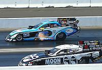 Feb 13, 2016; Pomona, CA, USA; NHRA funny car driver Jeff Diehl (far) alongside John Hale during qualifying for the Winternationals at Auto Club Raceway at Pomona. Mandatory Credit: Mark J. Rebilas-USA TODAY Sports