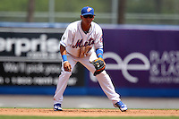 St. Lucie Mets shortstop Wilfredo Tovar #2 during a game against the Jupiter Hammerheads at Digital Domain Park on May 2, 2012 in Port St. Lucie, Florida.  St. Lucie defeated Jupiter 3-2.  (Mike Janes/Four Seam Images)