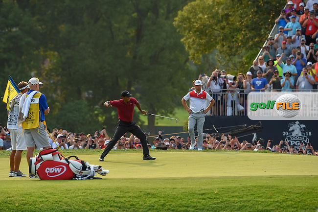 Tiger Woods (USA) celebrates his birdie putt on 18 during 4th round of the 100th PGA Championship at Bellerive Country Club, St. Louis, Missouri. 8/12/2018.<br /> Picture: Golffile | Ken Murray<br /> <br /> All photo usage must carry mandatory copyright credit (© Golffile | Ken Murray)
