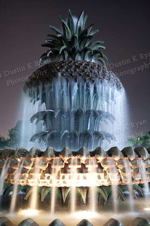 Pineapple Fountain Waterfront Park Charleston South carolina at night