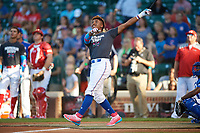 Nander De Sedas (25) of Montverde High School in Montverde, Florida during the Home Run Derby before the Under Armour All-American Game presented by Baseball Factory on July 29, 2017 at Wrigley Field in Chicago, Illinois.  (Mike Janes/Four Seam Images)