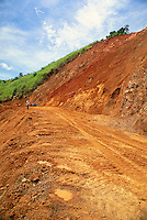 Hillside collapse in Panama closes road. Poor rainforest soils fail after trees are cut for farming, road building, etc. Panama.