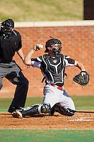 Bowling Green Falcons catcher Jeremy Shay (30) throws the ball back to his pitcher during the game against the High Point Panthers at Willard Stadium on March 9, 2014 in High Point, North Carolina.  The Falcons defeated the Panthers 7-4.  (Brian Westerholt/Four Seam Images)