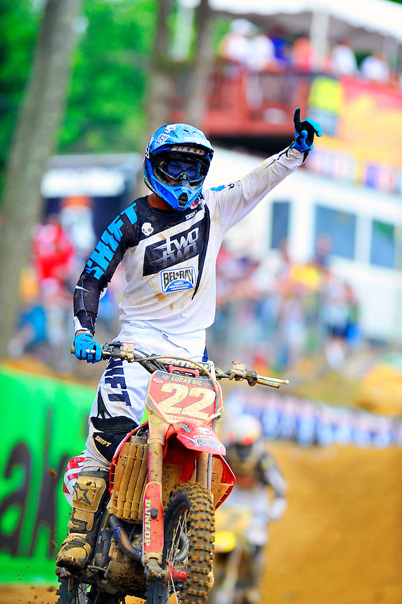 Chad Reed of team Honda celebrates his win during the Lucas Oil AMA Pro Motocross at Budds Creek National in Mechanicsville, Maryland on Saturday, June 18, 2011. Alan P. Santos/DC Sports Box