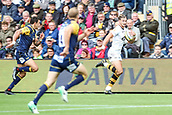 10th September 2017, Sixways Stadium, Worcester, England; Aviva Premiership Rugby, Worcester Warriors versus Wasps; Josh Bassett of Wasps at full speed on the wing