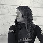 Surfer girl near Mendocino, CA.  Model released.  CD scan from b&w film.. © John Birchard