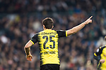 Borussia Dortmund Defender Sokratis Papastathopoulos gestures during the Europe Champions League 2017-18 match between Real Madrid and Borussia Dortmund at Santiago Bernabeu Stadium on 06 December 2017 in Madrid Spain. Photo by Diego Gonzalez / Power Sport Images
