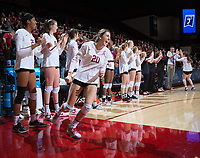 STANFORD, CA - December 1, 2017: Caitlin Keefe at Maples Pavilion. The Stanford Cardinal defeated the CSU Bakersfield Roadrunners 3-0 in the first round of the NCAA tournament.