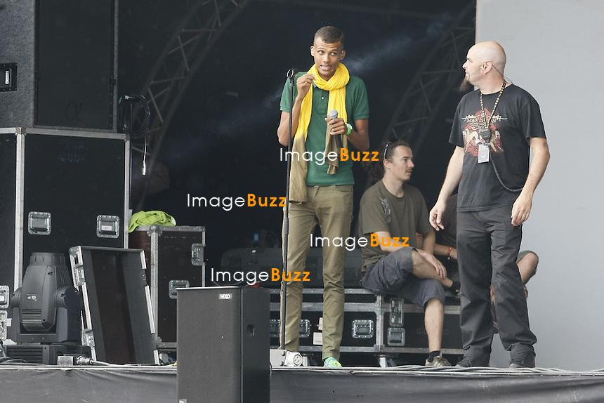 LE CHANTEUR BELGE STROMAE, LORS DES REPETITIONS DE SON CONCERT, AU BRUSSELS SUMMER FESTIVAL..BRUXELLES, 21/08/11.Pic : Stromae.EXCLUSIF!.