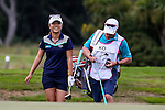 Lydia Ko of New Zealand with caddy Jason Hamilton during the ISPS Handa NZ Woman's Open Round Two. Clearwater Golf Course, Christchurch, New Zealand, Saturday 13 February 2016. Photo: Simon Watts / BWmedia for NZ Golf<br /> All images &copy; NZ Golf and BWMedia.co.nz