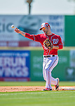 28 February 2016: Washington Nationals infielder Scott Sizemore warms up prior to an inter-squad pre-season Spring Training game at Space Coast Stadium in Viera, Florida. Mandatory Credit: Ed Wolfstein Photo *** RAW (NEF) Image File Available ***