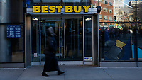 NEW YORK, NY - FEBRUARY 25:  A woman walks in front of Best Buy on February 25, 2019 in Manhattan, New York. Best Buy could see robust growth in Q4, the market expects $2.57 in earnings per share on revenue of about $14.7 billion.  (Photo by Eduardo Munoz Alvarez/VIEWpress)