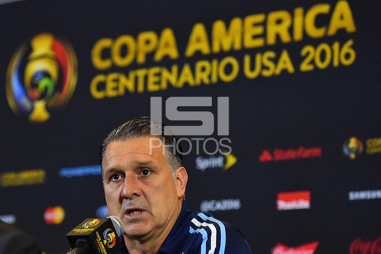 Foxborough, MA - Saturday June 18, 2016: Gerardo Martino after a Copa America Centenario quarterfinal match between Argentina (ARG) and Venezuela (VEN)  at Gillette Stadium.