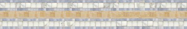 "6 1/4"" Backtracks border, a hand-cut stone mosaic, shown in polished Renaissance Bronze, Calacatta Tia, and Celeste."