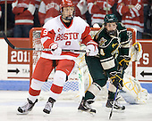 Alex Chiasson (BU - 9), Nick Bruneteau (Vermont - 4) - The visiting University of Vermont Catamounts tied the Boston University Terriers 3-3 in the opening game of their weekend series at Agganis Arena in Boston, Massachusetts, on Friday, February 25, 2011.