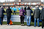 Darlington fans watching their team warm up. Darlington 1883 v Southport, National League North, 16th February 2019. The reborn Darlington 1883 share a ground with the town's Rugby Union club. <br /> After several years of relegations, bankruptcies, and ground moves, the club is fan owned, and back on an even keel in the National League North.<br /> A 0-0 draw with Southport was marred by a broken leg and dislocated knee suffered by Sam Muggleton, Darlington's on loan left back.<br /> Both teams finished the season in lower mid table.