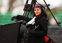 Sky presenter Melodie Robinson during the Air NZ Cup rugby match between Manawatu Turbos and Counties-Manukau Steelers at FMG Stadium, Palmerston North, New Zealand on Sunday, 2 August 2009. Photo: Dave Lintott / lintottphoto.co.nz