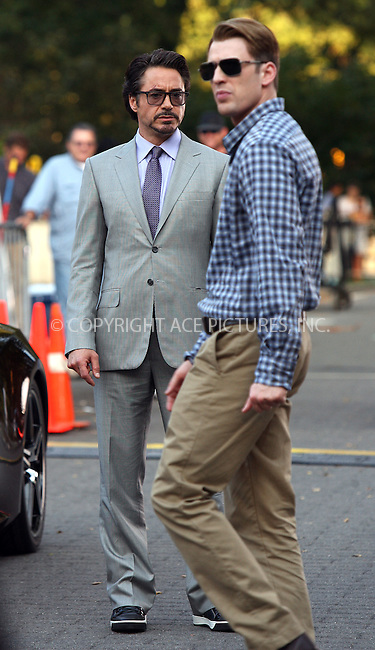 WWW.ACEPIXS.COM . . . . .  ....September 2 2011, New York City....Actors Robert Downey Jr and Chris Evans on the Central Park set of the new movie 'The Avengers' on September 2 2011 in New york City....Please byline: PHILIP VAUGHAN - ACE PICTURES.... *** ***..Ace Pictures, Inc:  ..Philip Vaughan (212) 243-8787 or (646) 679 0430..e-mail: info@acepixs.com..web: http://www.acepixs.com